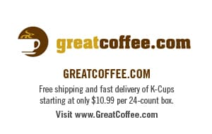 K-Cups at GreatCoffee.com from $10.99